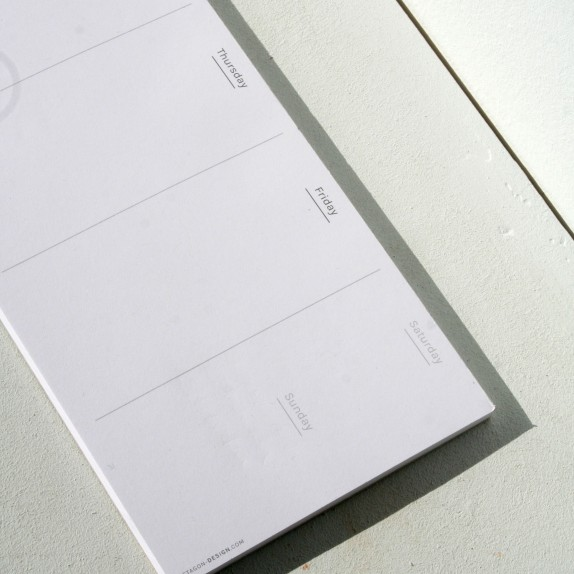 Perpetual weekly planner