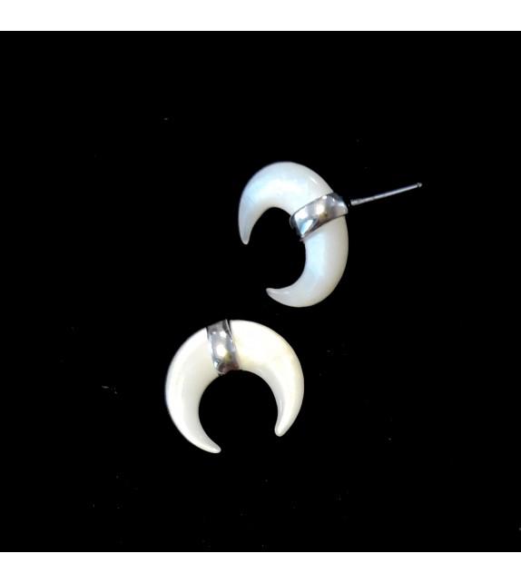 Paire demie-créoles noires et Swarovski